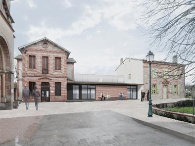 Extension, mairie, ALAE, Roqueserière, bioclimatique, brique, ITE, Agence Collart, bioclimatique, Toulouse